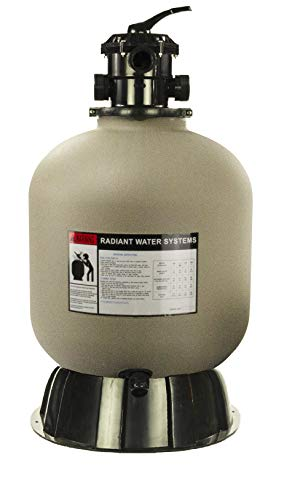 Rx Clear Radiant Sand Filter | for Above Ground Swimming Pools | 19 Inch Tank | 6-Position Valve | Comes with 1.5 Inch Threaded Connections | 175 Pound Sand Capacity | Up to 21,000 Gallons