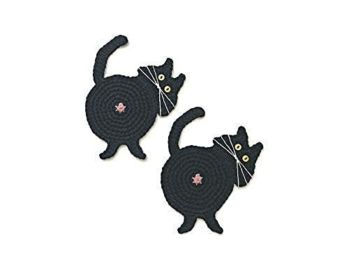 Cat OFFicial shop Butt Coasters OFFicial store Set of 2 Corner by Yeeli's Little Black