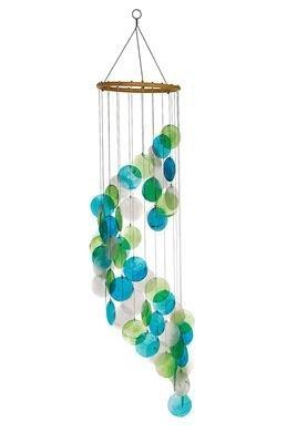 Feng Shui Mobile grün türkis Spirale Muschel Windspiel Perlmutt