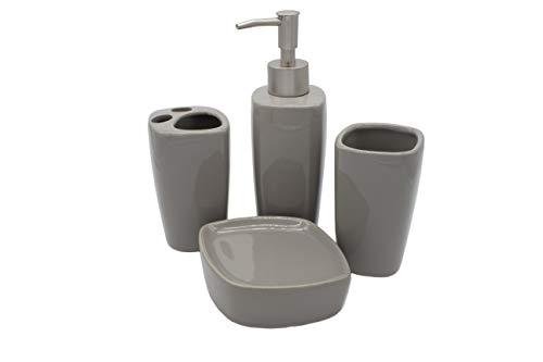 Set Juego de Accesorios funcionales para baño de 4 Piezas (Gris) 🔥