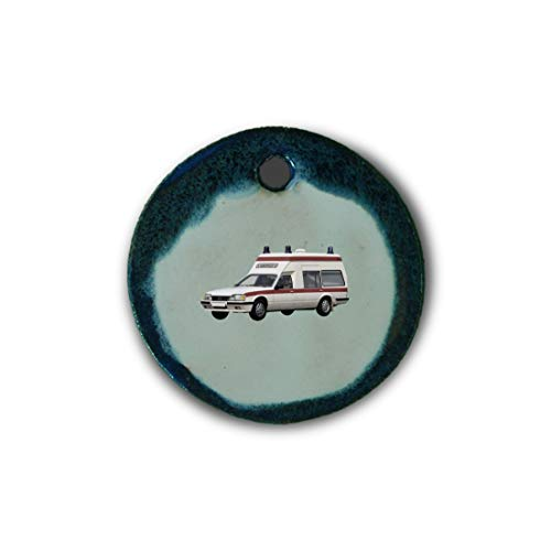 """Muy bonito colgante de cerámica """"ambulancia"""" jaspeado en azul;"""