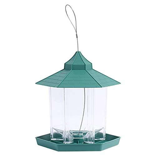 M/S Alimentador automático de pájaros, alimentador de colibríes, alimentador Colgante, decoración de jardín, Verde, 23 * 19 * 14,5 cm