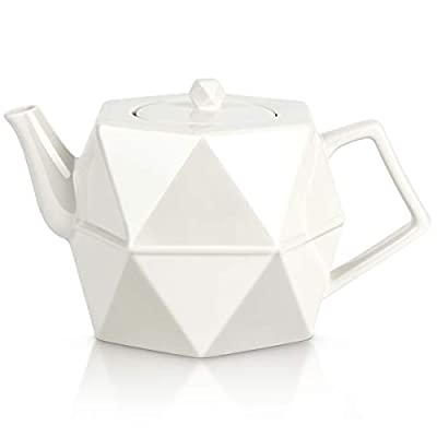 Teapot, Toptier Ceramic Tea Pot with Stainless Steel Infuser for Loose Tea, Diamond Design Porcelain Teapot for 34 Ounce (1000 ml), White