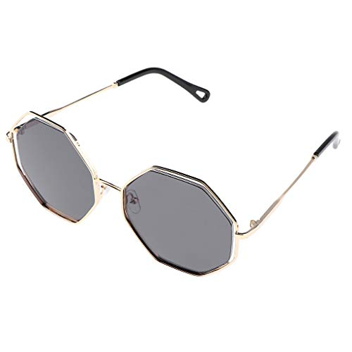 Bonarty Gafas de Sol con Espejo Anti-UV Vintage Sombras Gafas de Montura de Metal Gafas - gris, como se describe