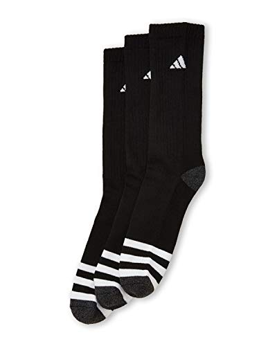 Adidas Men's 3 Pair Cushioned Compression Crew Socks; Grey (Shoe Size 6-12)