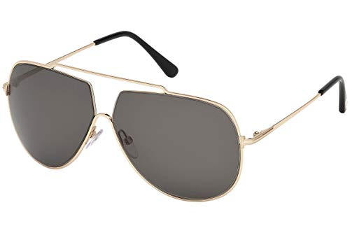Tom Ford FT0586 Chase-02 Zonnebril Glanzend Rose Goud w/Donker Grijs Lens 28A TF586 FT586