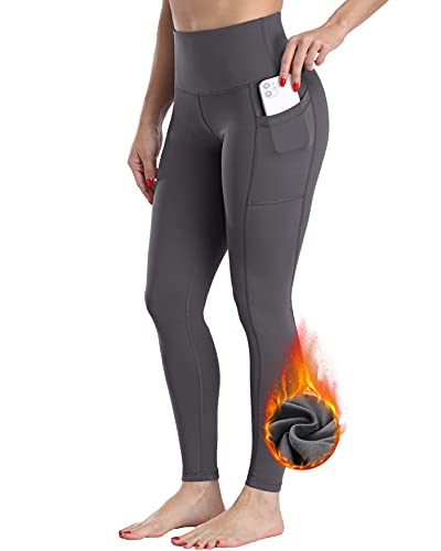 CHRLEISURE Fleece Lined Yoga Pants with Pockets for Women, High Waisted Thermal Warm Leggings with Pockets Gray M