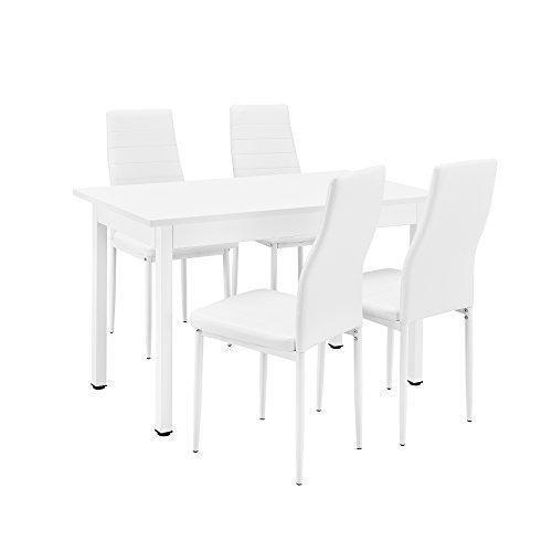 [en.casa] Conjunto de Comedor - Mesa Blanca (120x60cm) con 4 sillas Blancas tapizadas - Mesa de Cocina con Juego de sillas - Set Ahorro