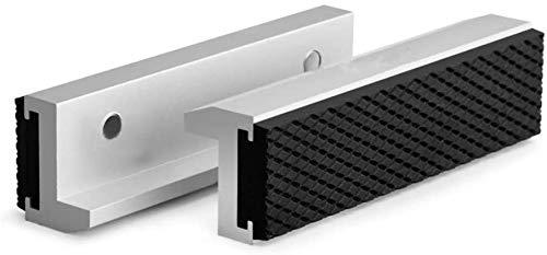 HRB Schraubstock Schutzbacken 100 mm, extra weiche Backen Zubehör, ideal für Schraubstock drehbar mit Spannbacken Breite mm, Ersatzbacken aus Aluminium mit Magneten (100 mm)