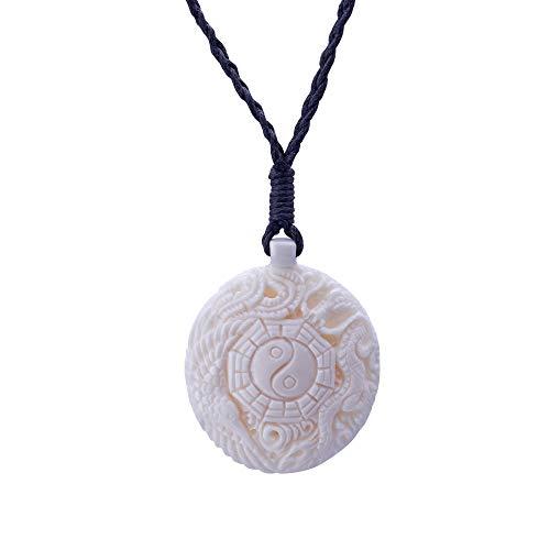 81stgeneration Collar Colgante de Hueso Yin Yang Ching Taoísta Fénix Dragón