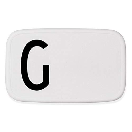 Design Letters 20203000 Boîte à Lunch, Plastique, Blanc/Noir, 18 cm