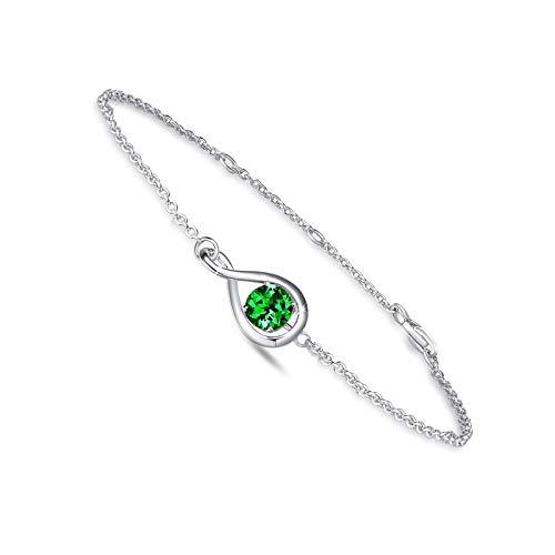 Pulsera de plata de ley 925 con piedra natal de mayo, esmeralda sintética de 05 de mayo