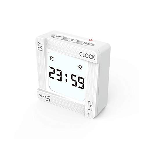 DONGKIKI Reloj cronometraje, cuadrado con tapa eléctrica, reloj despertador multifuncional científico, temporizador...