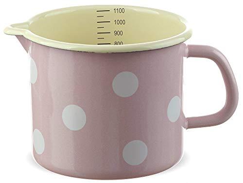 matches21 Kleiner Email Topf Milchtopf rosa gepunktet mit Skala nostalgischer Messbecher Emaille Geschirr je Ø 12 cm / 1000 ml