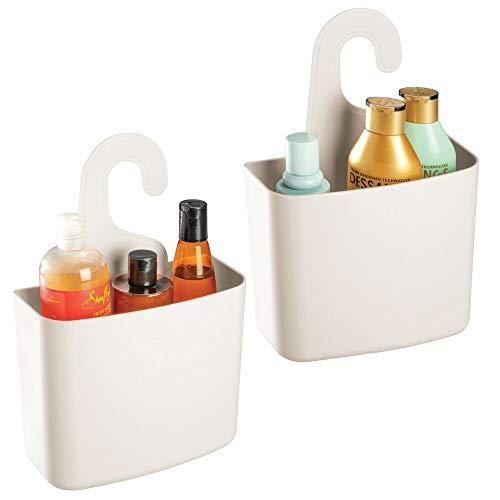 mDesign Juego de 2 cestas de ducha – Gran estante de ducha con agujeros de desagüe para champú, gel o afeitadora – Cesto de baño para guardar juguetes, sales de baño, etc. – crema