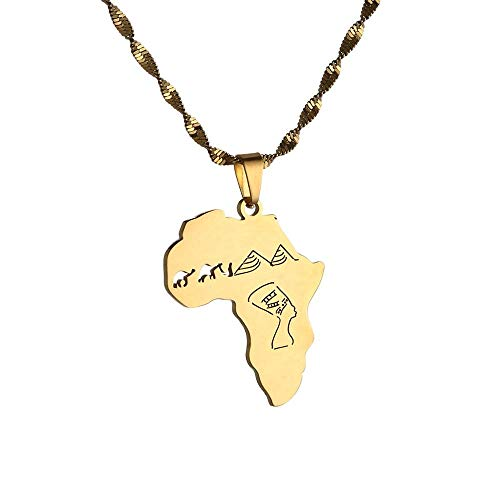xtszlfj Mapa de África con la Reina egipcia Nefertiti y Camel & Pyramid Collares Pendientes Joyería Africana Regalos