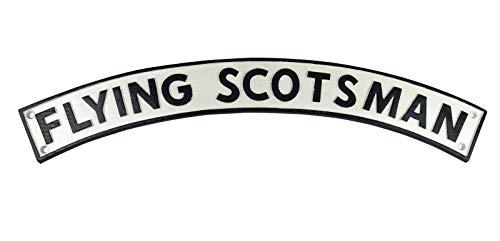 MandyTools Black & White Flying Scotsman Engine 3ft - Cast Iron Train Railway Sign Plaque