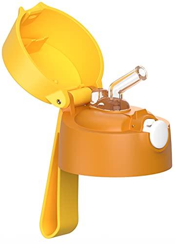 JARLSON® Tapa de repuesto con boquilla de silicona – reutilizable para la botella de agua de acero inoxidable Jarlson de 350 ml y la botella de plástico de 500 ml (amarillo).