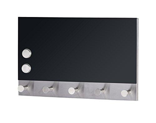 Wenko 50415100 Hakenleiste Black - 5 Haken, magnetisch, Gehärtetes Glas, 19 x 30 cm, schwarz