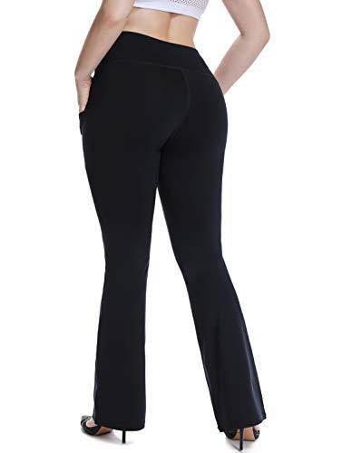 YOHOYOHA Plus Size Dress Yoga Pants High Waisted Stretch Bootcut Flared Leg Pants for Workout Work XL 2X 3X 4X