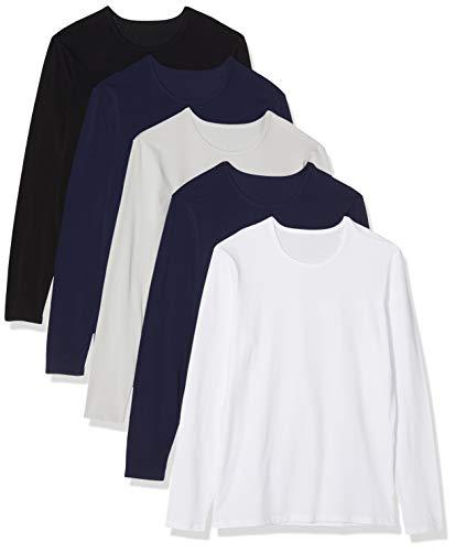 Maglev Essentials Bdx006m5 camisetas hombre, Multicolor (White/Black/Navy/Grey Violet), 120 (Talla del fabricante: 2XL), Pack de 5