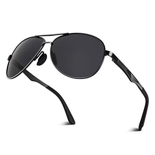 CGID CGID Polarisierte UV400 Schutz Prämie Al MG Metall Rahmen Pilot Sonnenbrille Pilotenbrille Für Herren GA61, 1 Black Grey,