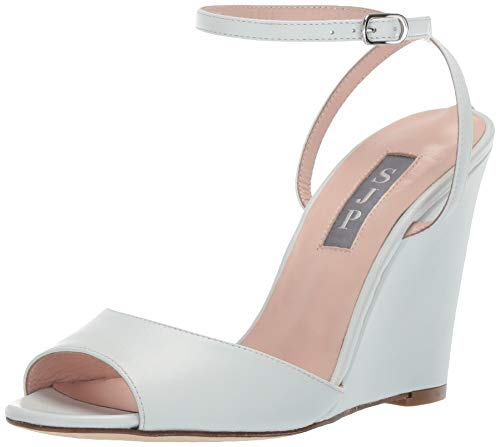 SJP by Sarah Jessica Parker Women's Boca Wedge Ankle Strap Sandal, Milk Nappa Leather, 41.5 M EU (11 US)