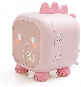 ZHZHUANG Reloj de Alarma de Dinosaurios de Reloj de Alarma con Termómetro Y Tiempo Recargable de Tiempo Led Reloj de Alarma Digital para Dormitorio Reloj Despertador,Rosa