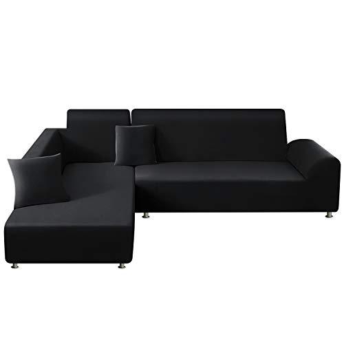 TAOCOCO Copridivano con Penisola Elasticizzato Chaise Longue Sofa Cover Componibile in Poliestere a Forma di L (Nero, 3 Posti+4 Posti)