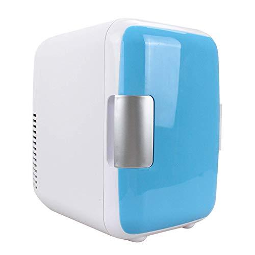 JLKDF Mini Nevera de 4 l para Bebidas, Nevera para Coche, más pequeña para Habitaciones, minibar, Nevera para Bebidas, para mechero de 12 V y Toma de 220 V, Azul, automático