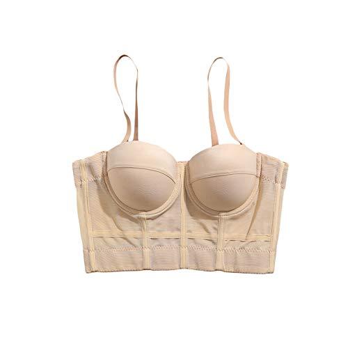 Mujeres Body Shaping Bra Color sólido Estilo simple Malla Elástica Yoga Ropa interior sin mangas Spaghetti Strap Tank Tops