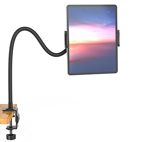 Gooseneck Tablet Holder&Cell Phone Holder,Universal 360°Flexible Tablet Stand,Lazy Arm Holder Clamp Mount Bracket Bed for iPad Mini/Air,Samsung Galaxy Tab,Nintendo Switch and 4.7-10.5' Devices(Black)