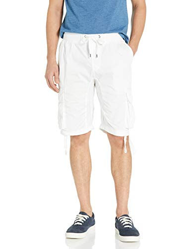 Southpole Men's Big and Tall Jogger Shorts with Cargo Pockets in Solid and Camo Colors, White(New) 1, 5XB