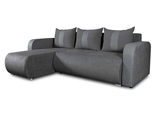 Ecksofa Rino mit Schlaffunktion und Bettkasten - L-Form Couch, Polsterecke, Couchgarnitur, Eckcouch, Ecke, Sofa, Sofagarnitur - Ottomane Universal (Enjoy 24 + Cayenne 1118)