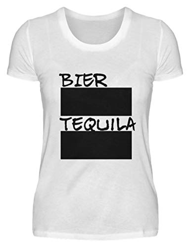 SPIRITSHIRTSHOP bier en tequila lijnlijst voor feestjes incl. 12 krijt - beschrijfbaar met krijt - dames premium shirt