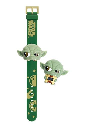 BulbBotz Star Wars 2021104 Yoda Kinder-Armbanduhr mit Hintergrundbeleuchtung , grün/braun , Kunststoff , digitale , LCD-Display , Junge/ Mädchen , offiziell
