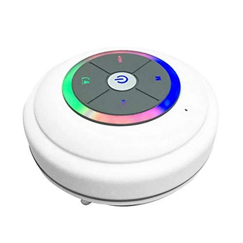 Waterdichte bluetooth-luidspreker met LED-lamp zuignap draadloze badkamer auto mobiele telefoon luidspreker ondersteuning handsfree bellen, wit