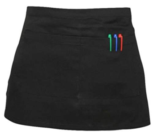 FASHION REVIEW [Black, One Size] New Chefs Waiters Cooks Restaurant BAR Black & White Short Waist Pocket Apron