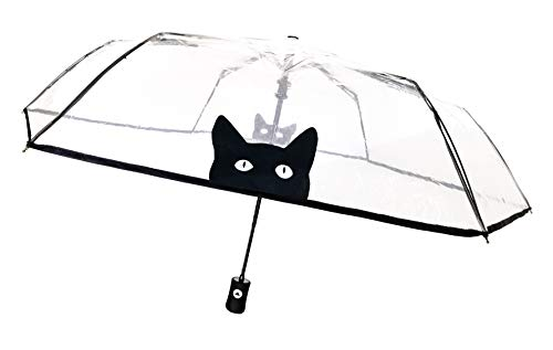 SMATI Regenschirm Taschenschirm transparenter - Kompakt - STABIL - Automatik (Katze)