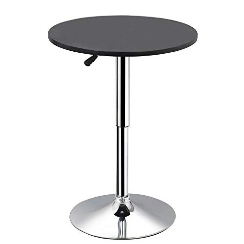 Yaheetech Round Pub Bar Table Black MDF Top with Silver Leg Base 27.4-35.8 inch Adjustable 88 lb Capacity