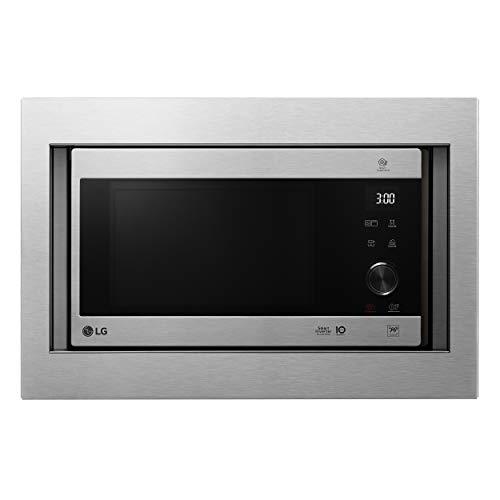 LG MH6565CPST - Microondas grill con tecnología Smart Inverter, kit de encastre, potencia microondas y grill 1450 W, 25 litros de capacidad, display LED, panel táctil y giratorio