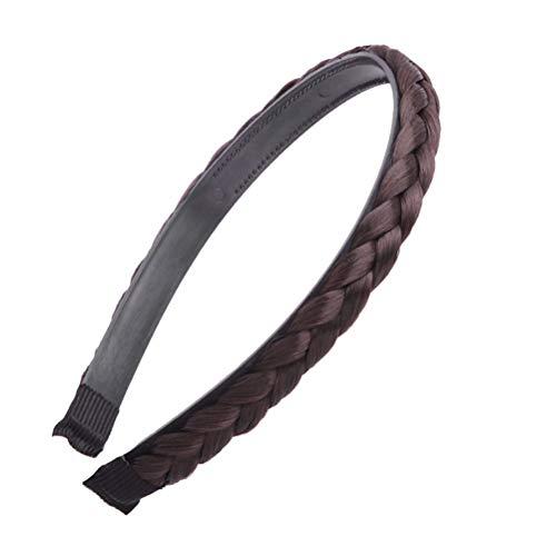 Trenza trenzado aro trenzado trenzado diadema para el cabello accessioeies para mujeres niñas (negro natural)