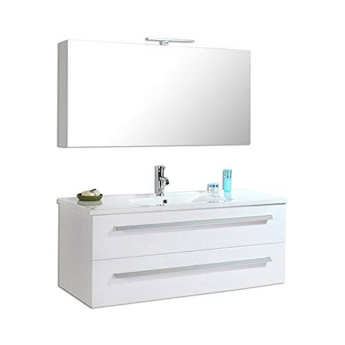 Home Deluxe - Badmöbel-Set - Wilhelmshaven Weiß - Hochglanz - inkl. Waschbecken und komplettem Zubehör
