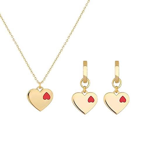 SHAOKAO 1 Unidades de corazón en corazón colgante collar Love Forever Doule corazón aro pendientes conjunto de joyería amante del día de San Valentín joyería kit de fabricación de pulsera para niños