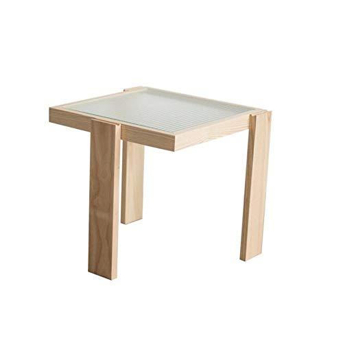 Jcnfa-bijzettafelbank met glazen tafelblad, kleine salontafel, kleine bijzettafel, nachtkastje