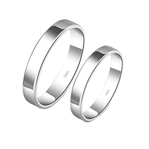 ROMQUEEN Schmuck Partnerringe EIN Leben Lang An Deiner Seite Ring Silber 925 Damen Breit Klassisch Hochzeitsringe Schwarz Paarringgröße 55(17.3)