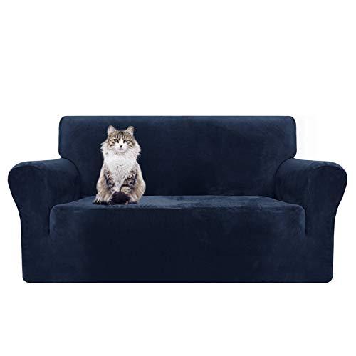 MAXIJIN Fundas de sofá de terciopelo grueso para 2 fundas de sofá súper elásticas para sala de estar, perros, gatos, mascotas, felpa, sillón, sillón, protector de muebles elástico (asiento de ovesis, azul marino)