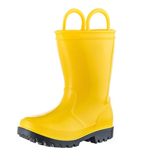 ALLENSKY Kids Rain Boots with Easy-on Handles for Little Kids & Toddler Boys Waterproof Rain Boots(Yellow)