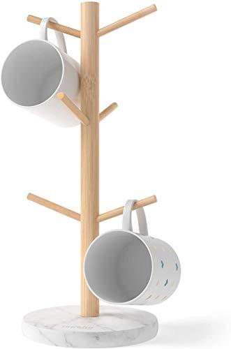 Topsky Tassenhalter,Becherhalter,Kaffee Tassenhalter mit 6 Haken,Kaffee Becherhalter für Theke,Kaffeetassenregal aus Harz mit Bambus(Marmoreffekt)