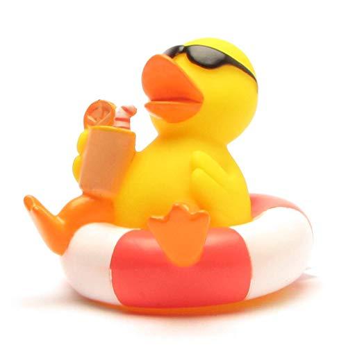 Badeente im Schwimmreif I Quietscheente I Duckshop I L: 8 cm